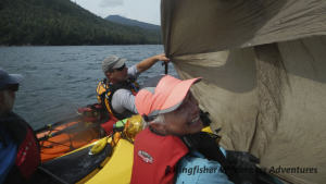 Northern Gwaii Haanas Kayak Tour - When the conditions are right rigging a makeshift sail can speed us along.