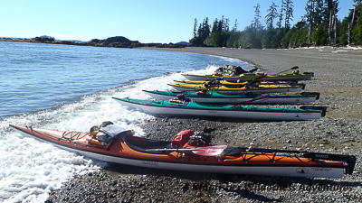 Kayaks on beach in Gwaii Haanas National Park