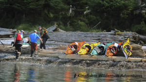 Southern Gwaii Haanas Kayak Tour - Moving the kayaks above the high tide line at camp.