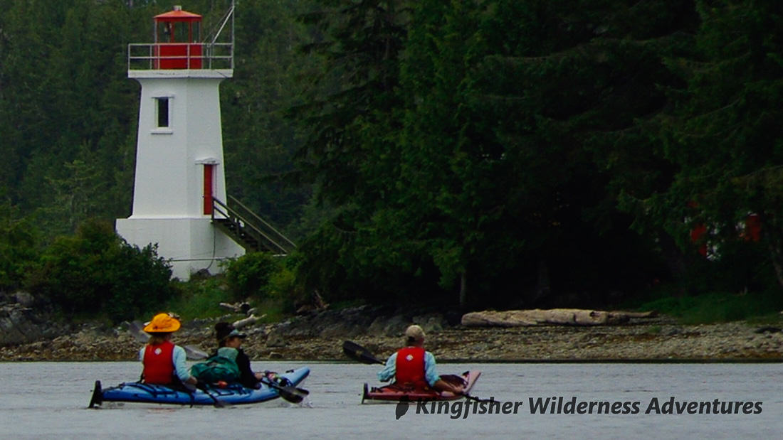 Great Bear Rainforest Kayak Expedition - Kayaking past the Dryad Point lighthouse.