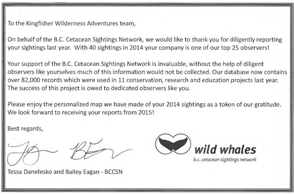 BC Cetacean Sightings Network 2014 Reporting