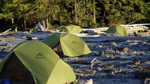 Great Bear Rainforest Kayak Expedition - Beach camping in the Great Bear Rainforest.