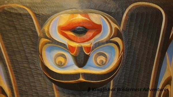 Great Bear Rainforest Kayak Expedition - Carving at the Klemtu Big House.