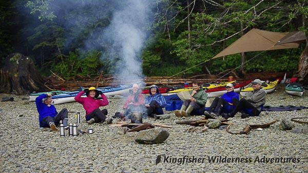 Great Bear Rainforest Kayak Expedition - Sitting around the camp fire in the Great Bear Rainforest.