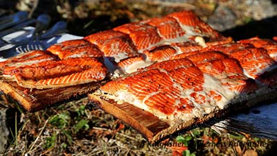 Barbecued cedar-planked salmon for dinner.