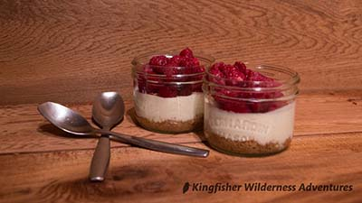 Cheesecake with raspberries for dessert.